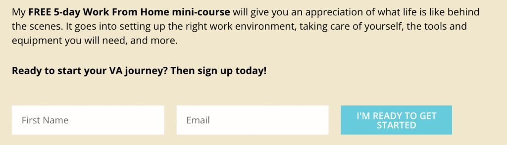 Opt-in form for mini course